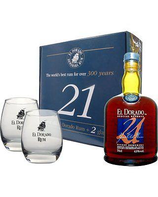 El Dorado 21 Jahre mit 2 Gläsern