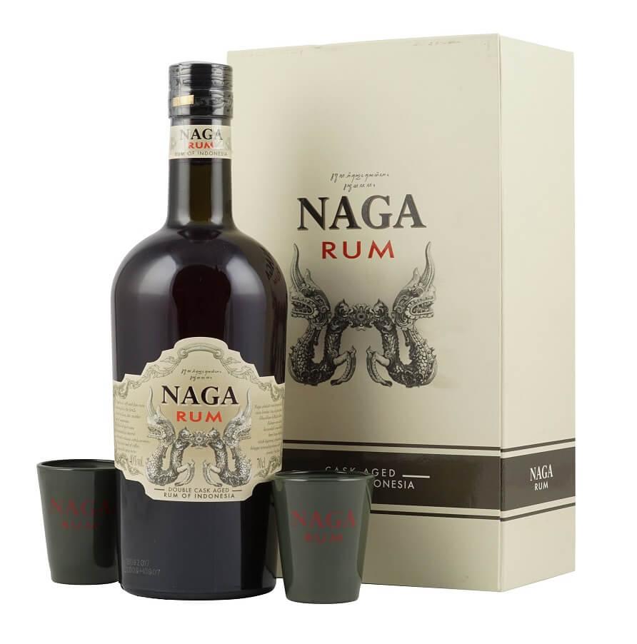 Naga Rum Aged Rum mit 2 Gläsern